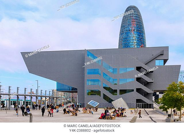 Europe, Spain, Barcelona The Torre Agbar Catalan pronunciation: 'tor? ?g'bar is a 38-story skyscraper / tower located between Avinguda Diagonal and Carrer...