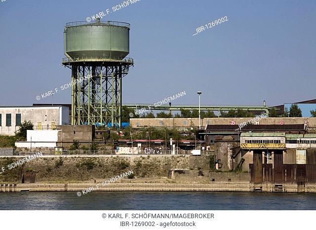Old water tower on the bank of the Rhine River, RheinPark, Duisburg-Hochfeld, the Ruhr area, North Rhine-Westphalia, Germany, Europe