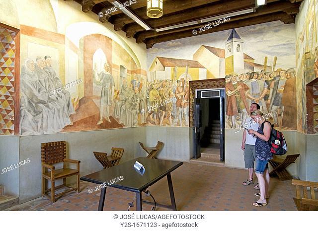 Monastery of La Rabida, Room with fresco walls murals of Vazquez Diaz, Palos de la Frontera, Huelva, Spain