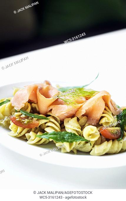 smoked salmon organic tomato and basil fresh pasta salad with ricotta cream sauce and dill