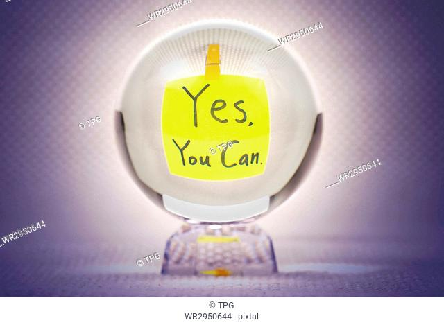 Yes you can, words show in magic crystal ball