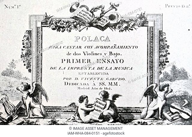 Cover of a vocal composition printed in Madrid. Dated 19th Century