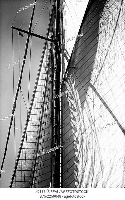 Closeup of the main-mast with jib and main sail of a vintage sailing boat