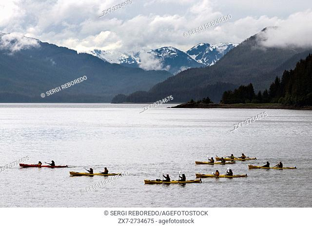 Kayaks in Icy Strait. Glacier Bay National Park adn Preserve. Chichagof Island. Juneau. Southeast Alaska. Today is the ultimate day of exploration