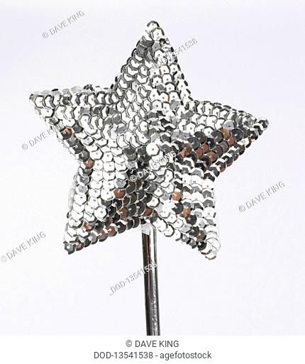 Magic wand star shaped with silver sequins