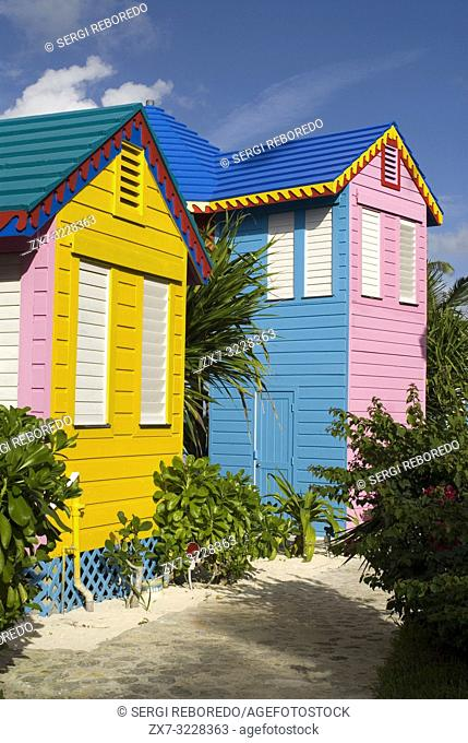 Hotel Compass Point Resort at Love beach Nassau, Bahamas, Caribbean. Brightly Colored Cottages At Compass Point Beach Club