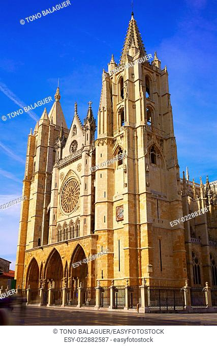Cathedral of Leon facade in Castilla at Spain