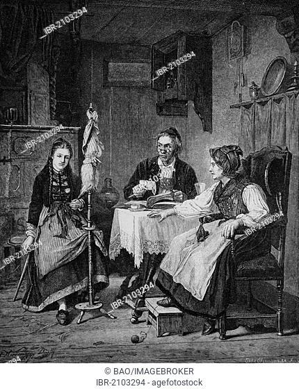 Father finding a secret letter to his daughter in a book, wood engraving, about 1880
