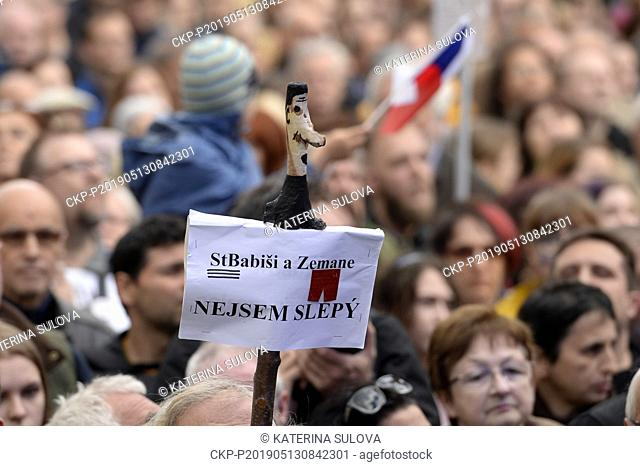 About 20,000 people attend third demonstration against PM Babis and new Justice Minister Benesova in the centre of Prague, Czech Republic, May 13, 2019