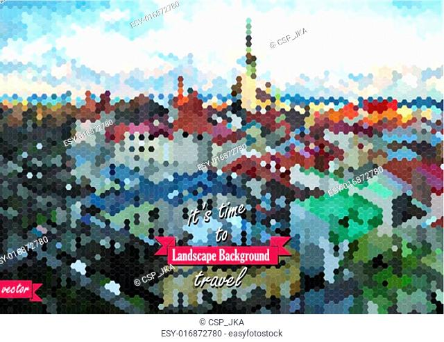 Vector view on old Tallinn, Estonia, Europe. Blur background mad