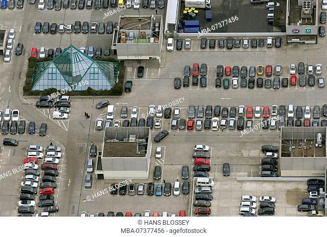 Aerial view, Rhein-Ruhr-Center at the A40, roof parking lot, parking space, Mülheim an der Ruhr, Ruhr area, North Rhine-Westphalia, Germany, Europe