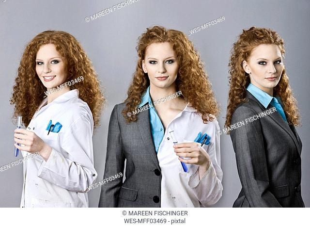 Tryptich of the same woman in roles as chemist, business person and both