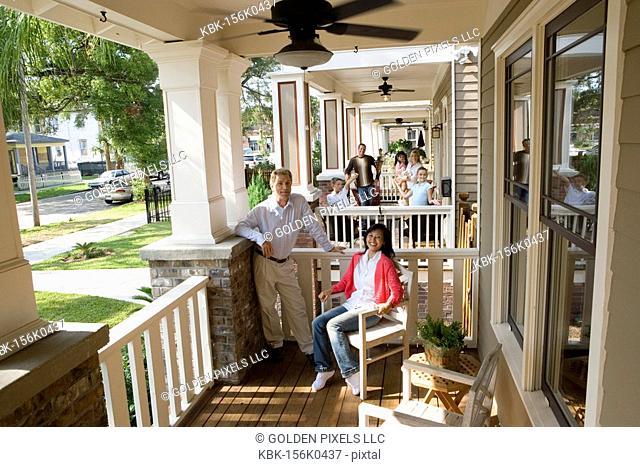 Next-door neighbors on front porches