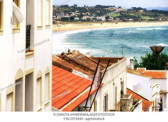 Europe, Portugal, Southern Portugal , Algarve region , Faro district , Lagos , old town scenery, Meia Praia in background