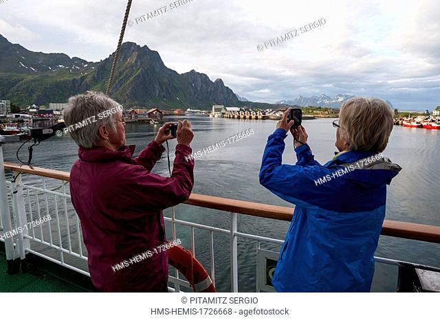 Norway, Nordland County, Lofoten Islands, Svolvaer, MS Nordlys cruise ship, Hurtigruten
