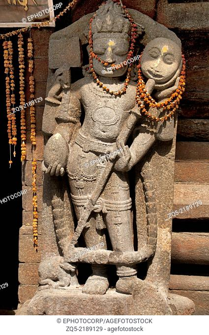 Sculpture of Dwarpal at Jageshwar temple. Almora district, Uttarakhand, India