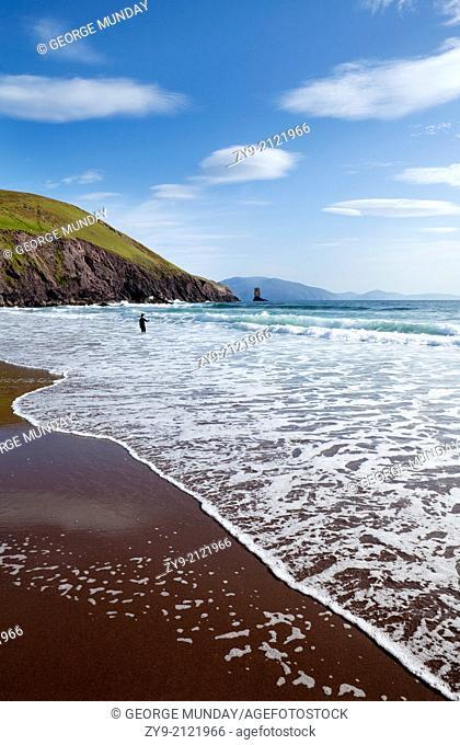 Surfers on Dun Cin Tire Beach, Near Dingle Town, Dingle Peninsula, County Kerry, Ireland