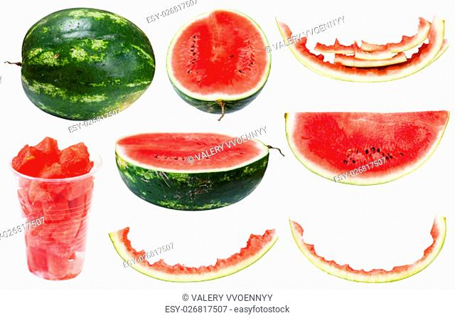 collection from whole and sliced watermelons and rinds isolated on white background