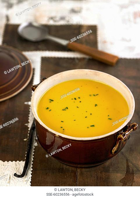 Cream of pumpkin soup with orange and rum