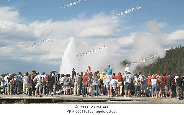 people watching geyser at Yellowstone