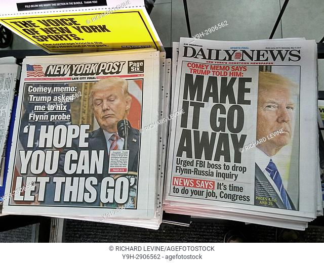Headlines of New York newspapers on Wednesday, May 17, 2017 report on President Donald Trump allegedly urging then FBI chief James Comey to drop probe into...