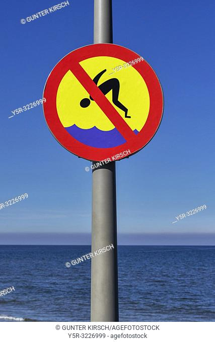 Prohibition sign jump into the Water banned