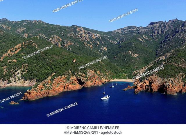 France, Corse du Sud, Scandola Nature Reserve, Elbo Bay, Orsani tower Elbo (aerial view)