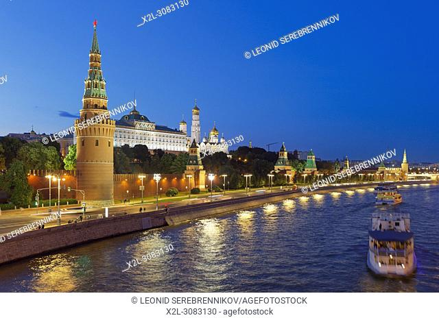 View of Moscow Kremlin illuminated at dusk. Moscow, Russia