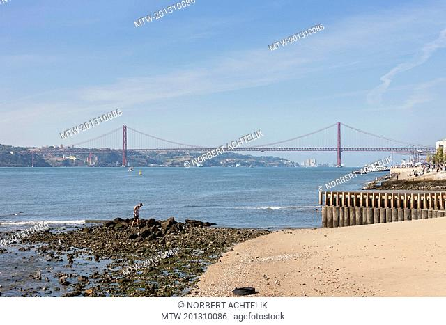 Bridge across river, April 25th Bridge, River Tagus, Lisbon, Portugal
