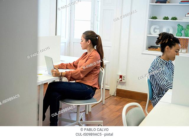 Two businesswomen typing on laptops at office desk