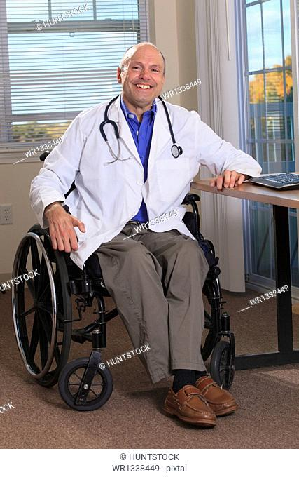 Man with Friedreich's Ataxia and deformed hands as a doctor