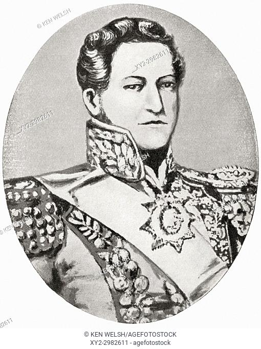 Juan Manuel de Rosas, 1793 - 1877, nicknamed Restorer of the Laws. Politician, army officer and 17th Governor of Buenos Aires Province, Argentina