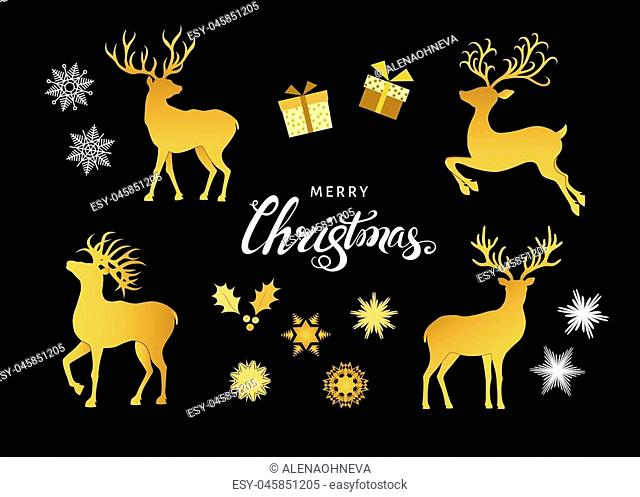 Collection of gold Christmas decorative design elements. Deer silhouettes, snowflakes and gift boxes isolated on black background