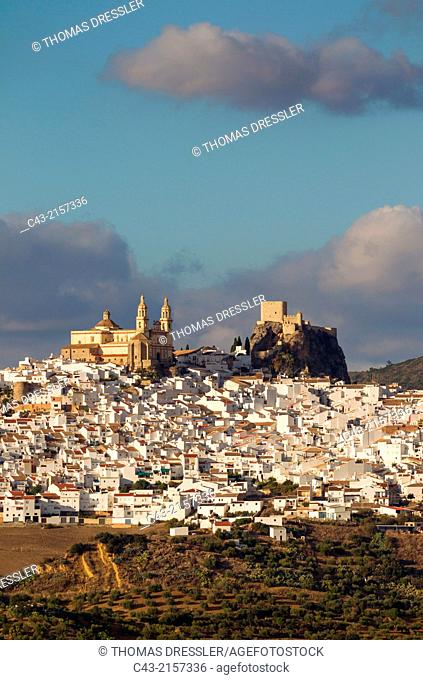 The hilltop White Town of Olvera with its La Encarnación church and Moorish castle is surrounded by olive groves. Cádiz province, Andalusia, Spain