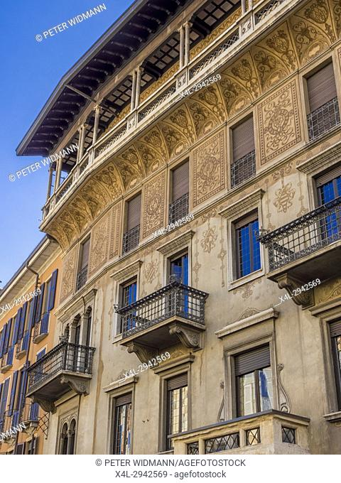 Painted façade of an old house, Milan, Italy, Europe