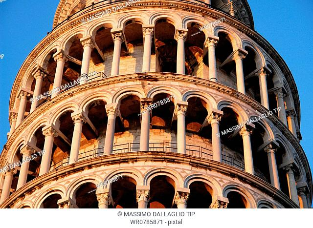Leaning Tower of Pisa detail, Campo dei Miracoli, Tuscany, Italy