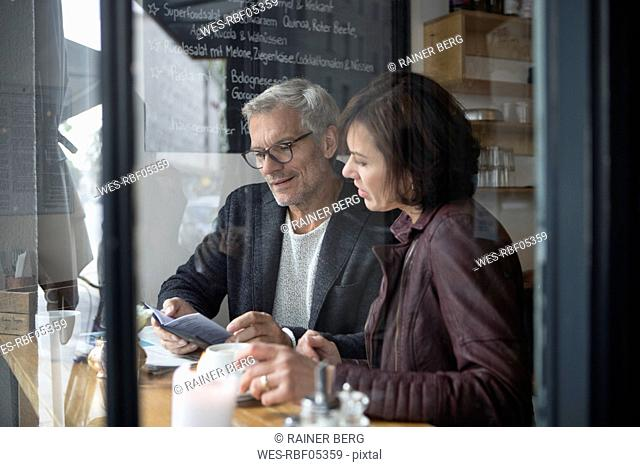 Mature couple in a cafe