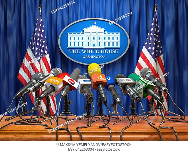 Press conference of president in the White House Washington. Microphones of all media with USA flags and White House sign. 3d illustration