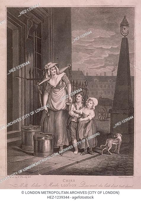 'Milk below Maids'. A milk seller handing a cupful of milk to a boy and girl on a London street, with a dog walking past and a lamp on the right