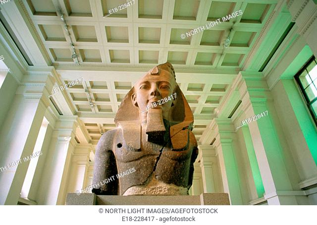 Stone bust of the egyptian Pharaoh Ramses II. British Museum. London. UK