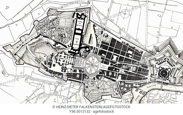 The plan of the Leonine City, Papal Rome, Italy