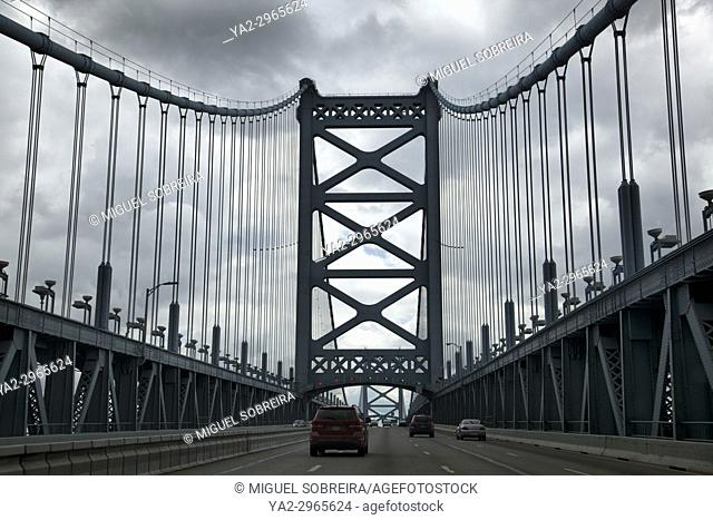 Benjamin Franklin Bridge Connecting Philadelphia to New Jersey - USA