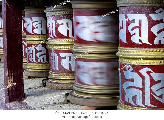 Likir Monastery, Indus Valley, Ladakh, India, Asia. Buddhist prayer wheels
