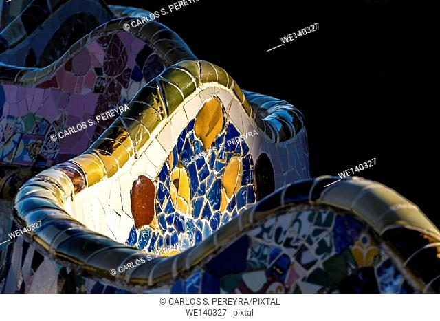 Park Guell. Garden complex with architectural elements situated on the hill of el Carmel. Designed by the Catalan architect Antoni Gaudí and built in the years...