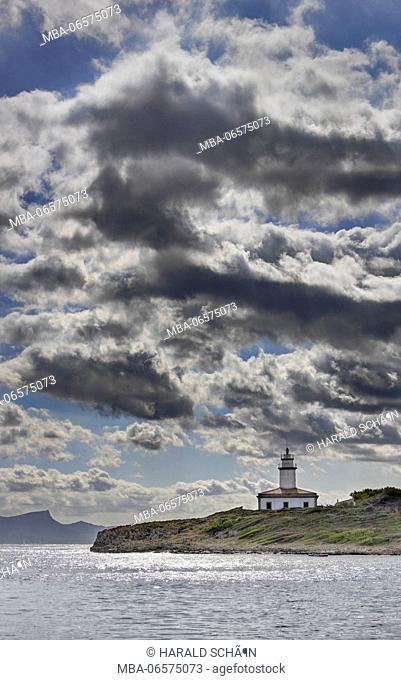 Spain, Majorca, Alcanada, Faro de Alcanada, lighthouse, sea, sky, clouds, backlight
