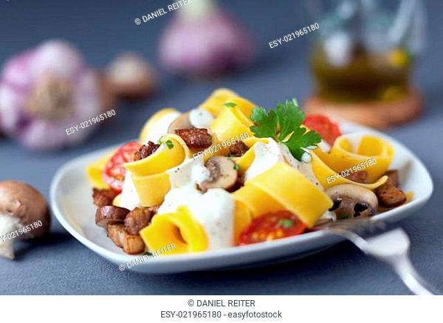 Delicious Italian cuisine of pappardelle noodles