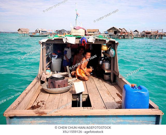 Scene of Bajao stilt village, Omada island, Semporna, Sabah, malaysia, borneo