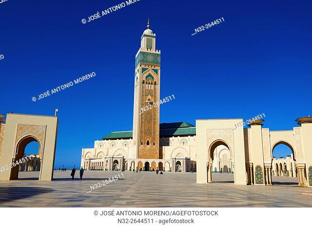 Casablanca, Hassan II Mosque, Sunset, Morocco, North Africa, Maghreb, Atlantic Coast