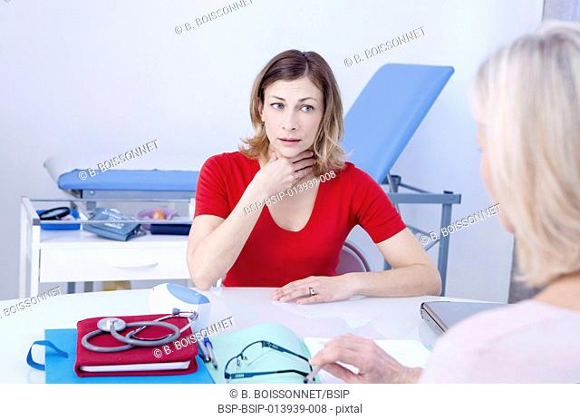 Female patient consulting for a sore throat