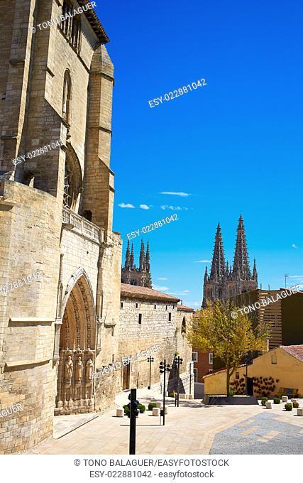Burgos San Esteban church facade in Castilla Leon of Spain